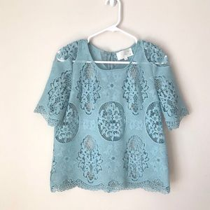 JOA LA blue short sleeve lace blouse M